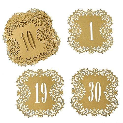 aser geschnitten Hochzeit Tisch Karte Zahlen Spitze Tisch Karten für Hochzeit Partyzubehör beige gold number1-30 ()