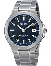 Pulsar Uhren PS9123X1 - Reloj analógico de cuarzo para hombre con correa de titanio, color plateado