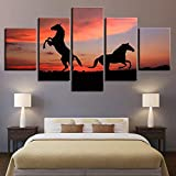 mmwin Arte de la Pared Cartel Moderno Decoración para el hogar Sala de Estar 5 Piezas Atardecer Glow Paisaje Animal Caballo Lienzo HD Impresión Modular