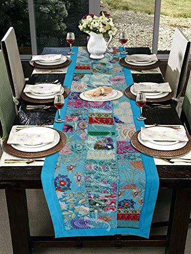 Hare krishna arazzo da tavolo ricamato a mano con patchwork di sari (turchese) 30 x 203 cm