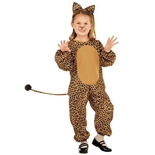 Amakando Katzenkostüm - 110, 3 - 4 Jahre - Leoparden Kinderkostüm Leopardenkostüm Mädchen Tierkostüm Katze Overall Wildkatze Jumpsuit leoprint Kinder Kostüm Leopard