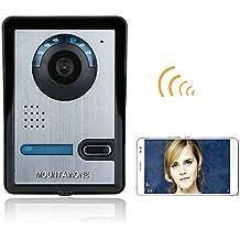 MOUNTAINONE Timbre Video Portero Intercomunicador (Inalámbrico Wifi, detección de movimientos, P2P IP, IR Visión Nocturna, Desbloquo Remoto,720P,) Seguridad Hogar