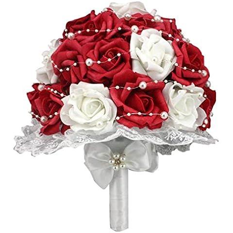 QHGstore Bouquet PE holding della sposa Fiore