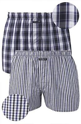 VEDONEIRE 2 x Mens Cotton Boxers - Navy Plaid (2242) Comfort Loose Fit Boxer Shorts ALL SIZES (M, L, XL, XXL)