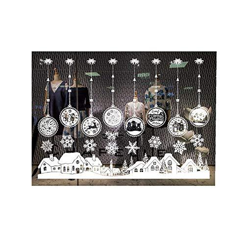 ODJOY-FAN Weiß Entfernbar Fenster Aufkleber Weihnachten Wandtattoos Restaurant Einkaufszentrum Dekoration Wandbilder Schnee Glas Wandaufkleber(G,1 PC)