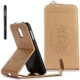 Galaxy S5 Hülle Gold,Slynmax Mandala Flip Schutzhülle für Samsung Galaxy S5 / S5 Neo Tasche Wallet Leder Klapphülle Brieftasche Lederhülle Bumper Handyhülle Ständer Kartenfächer Magnetverschluss