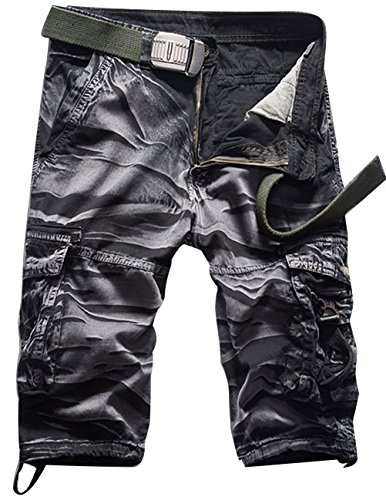 CUKKE Uomo Pantaloncini corti Bermuda Cargo short con tasconi laterali con cintura Camouflage-6