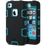 iPhone 4s Hülle, ULAK iPhone 4 Hülle 3in1 Stoßfest Hybrid High Impact Hart PC und Weiche Silikon Schutzhülle Tasche Case Cover für Apple iPhone 4s iPhone 4(Schwarz+Blau)