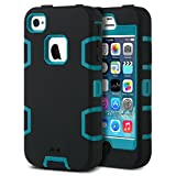 ULAK iPhone 4S Case, iPhone 4 Case 3in1 Shockproof Combo Hybrid Hard Rigid PC + Soft Silicone Protective Case Cover for Apple iPhone 4 4S (Black+Blue)