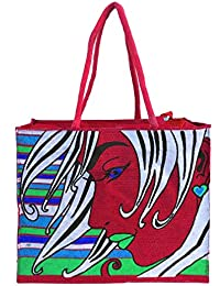 Sankh 15X5X12 Inch Look Lady Jute Bag-Jute Printed Fashion Shoppers Bags