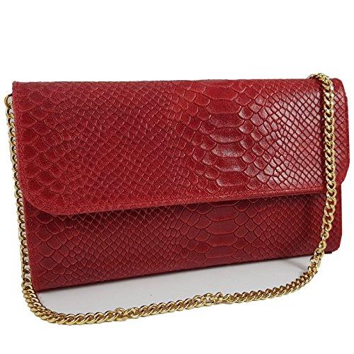 Pochette Da Donna In Vera Pelle Borsa Da Sera Modello Metallizzato 25x15cm Rosso Serpente