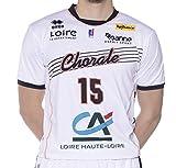 Errea Chorale Roanne Réplica Domicile Maillot de Basketball Homme, Blanc/Marine/Orange, FR : S (Taille Fabricant : S)