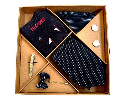 Blacksmith Polka Black Tie , Cufflink, Pocket Square , Socks , Lapel...