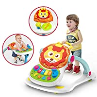 BBYYOP 4-In-1 Multi-Purpose Walker Step-By-Step Push Stroller for 6-18 Months Baby, Cartoon Lion Music Toy Walker
