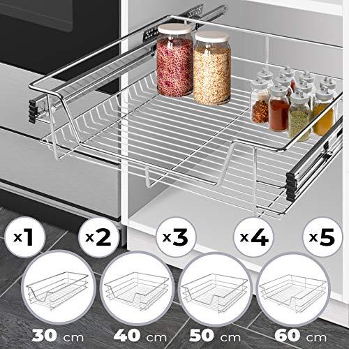 Jago Teleskopschublade (30/40/50/60cm) | Verchromt, für Küchen- oder Schlafzimmerschränke in verschiedenen Breiten | Halter, Ständer, Schublade, Korbauszug, Schrankauszug, Schubladeneinsätze