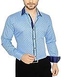 Global Rang Men's Printed Casual Blue Shirt (42 inch)