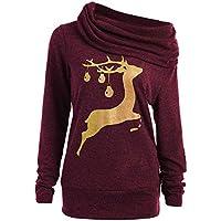 Toasye Frauen Winter Weihnachten Langarm Cowl Neck Top Bluse, Damen Casual Christmas Deer Print Pullover Sweatshirt