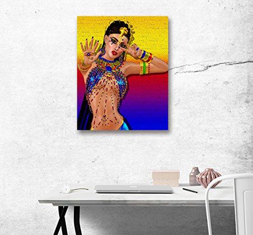 LB Ballerini Femminili alla Moda Cultura Etnic Giallo Blu Stampa di Immagini su Tela Wall Art Decorazione per la casa Pannello Decorativo per pareti 40 x 50 cm Pronto per Essere Appeso