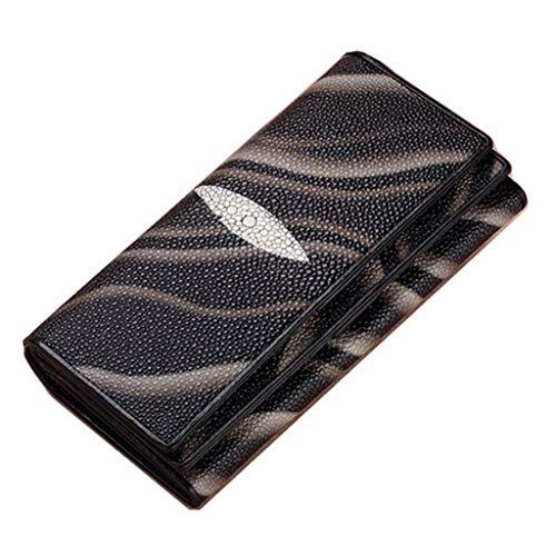 Dream Tissa Damen-Portemonnaie mit langem Ausschnitt, Muliti-Card-Paket, dreifach gefaltete Lederclutch (Color : Black, Size : 19 * 2.5 * 10)