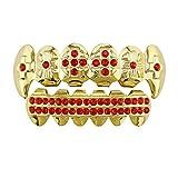 Ou-Ruo-LaM-fashion Denti Falsi, Griglie per i Denti Unisex Gold Gold Denti Griglie placcate Oro Denti Griglie Set per Regalo Holleween Denti Grill Griglie per la Bocca Hip Hop (Colore : Rosso)