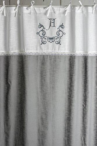 Anna frost grau bestickt 2x(145x250cm) Vorhangset Gardinenschals Gardinen Dekogardinen Frill Rüsche Volant Ornament Landhaus Shabby Chic Vintage Franske Leinenoptik