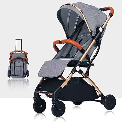 AWL-J Kinderwagen Stoßdämpfung Falten Ultra Light Portable kann sitzen liegend Mini Kinder Regenschirm,Gray -