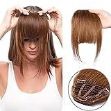 """(7""""=18cm,25g) Frange a Clip Cheveux Naturel [3 Clips Anti-Glisse] Tenir Bien Sur La Tête [ Marron Clair ]"""