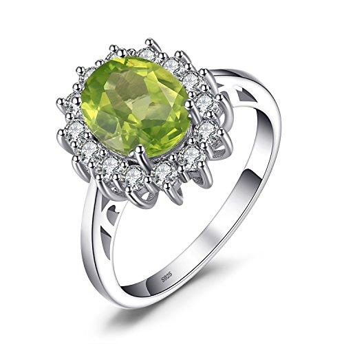 JewelryPalace Prinzessin Diana William Kate 2.2ct Natürliche Grün Peridot Verlobungsring Ring 925 Sterling Silber Größe 51 to 59