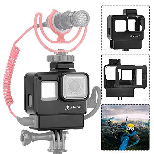Homesuit Schutzgehäuse Fall Vlogging-Rahmenhalterung mit Mikrofon Kaltschuhadapter kompatibel für GoPro 7 6 5, Action-Kamera-Zubehör - Go Pro-audio