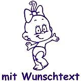 Windel Winni XL Babyaufkleber mit Name/Wunschtext - Motiv WW26 (25 cm)