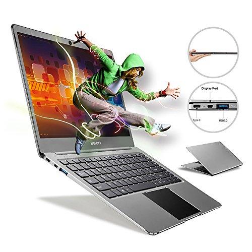 Bben Ultra Slim laptop 14-inch 1920*1080 FHD intel Apollo Lake Celeron N3450 4GB Ram 64GB eMMC Supports M.2 SSD Upgrade(Up to 512 GB), USB 3.0, Bluetooth, Type C, Webcam, Grey