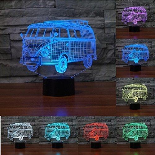 Jinson well 3D der bus Lampe optische Illusion Nachtlicht, 7 Farbwechsel Touch Switch Tisch Schreibtisch Dekoration Lampen perfekte Weihnachtsgeschenk mit Acryl Flat ABS Base USB Kabel kreatives Spielzeug