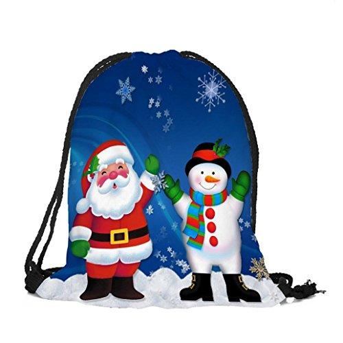 Longra Sacchetto del Drawstring della tasca del pacchetto del Babbo Natale del poliestere del tema del tema di Natale G