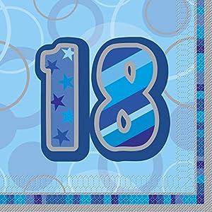 Unique Party- Paquete de 16 servilletas de papel de 18 cumpleaños, Color azul, Edad (28458)