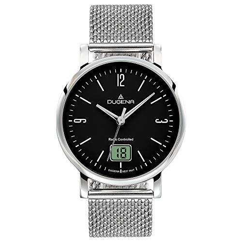 Dugena Damen Funk-Armbanduhr, Saphirglas, Milanaise-Armband, Mondo Funk, Silber/Schwarz, 4460850