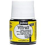 Pebeo Vitrail Vidriera (Cristal, efecto pintura para telas claras (45ml), diseño de cuadros, color amarillo limón