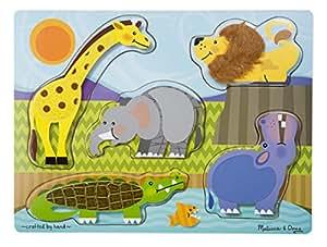 Melissa & Doug - 14328 - Puzzle En Bois À Texture - Animaux de Jardin Zoologique