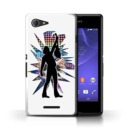 Kobalt® Imprimé Etui / Coque pour Sony Xperia E3 / Hendrix Blanc conception / Série Rock Star Pose Atteindre Blanc