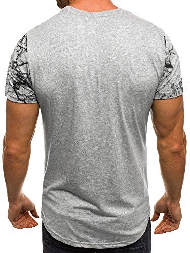 OZONEE Herren T-Shirt mit Motiv Kurzarm Rundhals Figurbetont ATHLETIC 1026 Grau_JS-SS107
