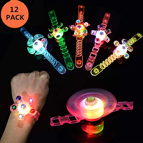 SEALEN 12er Pack Multicolor Light Up Toys LED-Armbänder, Neon Party Supplies Glow in The Dark Geburtstagsparty, Hand Spin Stressabbau Angst Spielzeug Zufällige ()