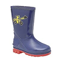 Boys Infant Navy Wellington Boot with Yellow Digger Motif 9 (27)