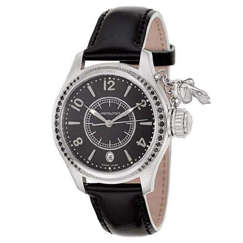 HAMILTON H77351935 - Reloj analógico de cuarzo para mujer, correa de cuero color negro