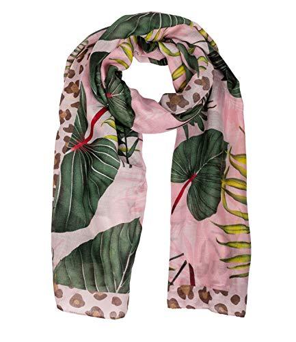 SIX Damen Tuch in senfgelb, florales Muster in pink und grün, Dschungel Optik, Leo-Print und Blumen Muster, bunt (705-709) -