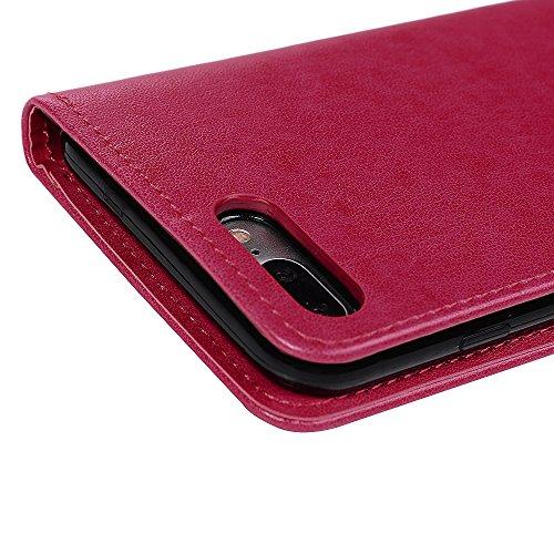 Badalink Hülle für iPhone 7 Plus / iPhone 8 Plus Rosa Ameise Baum Handyhülle Leder PU Case Cover Magnet Flip Case Schutzhülle Kartensteckplätzen und Ständer Handytasche mit Eingabestifte und Staubschu Rosa Rot