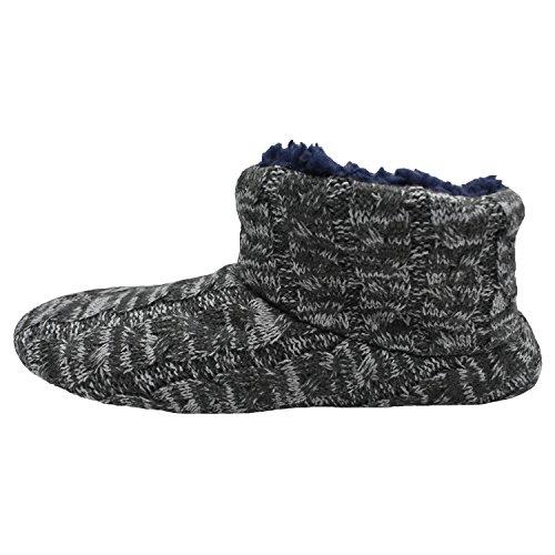 MStar Herren Hochwertige Gefütterte Hausschuhe Warme Rutschfest Winter Hüttenschuhe für Outdoor/Indoor Dunkelgrau