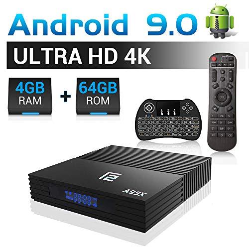A95X F2 Android TV Box 【4G+64G】, Android 9.0 TV Box mit S905X2 Quad-core ARM Cortex-A53/WiFi 2.4G/5.0G /Bluetooth 4.2/USB 3.0/ HDMI 2.0/ H.265/4K HD Smart Android TV Box (mit Mini Tastatur)