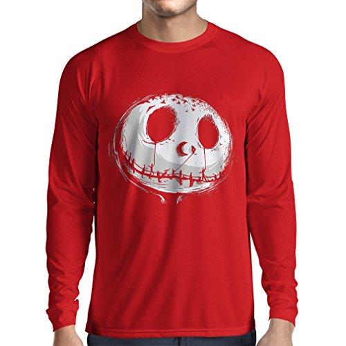 rts beängstigend Schädel Gesicht - Alptraum - Halloween-Party-Kleidung (XX-Large Rot Mehrfarben) ()