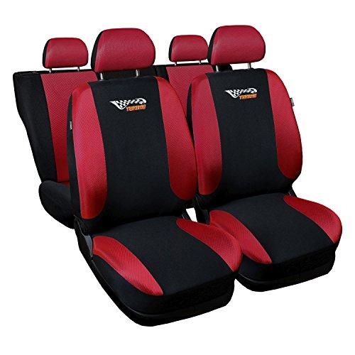 Saferide | Universal Rot Sitzbezüge Komplettset Sitzbezug für Auto Sitzschoner Set Schonbezüge Autositz Autositzbezüge Sitzauflagen Sitzschutz Tuning