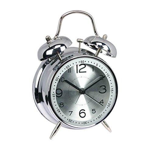 """ALEENFOON 4\"""" Metall Retro Zwilling Glocke Analoge Wecker ohne Ticken Lautlos Kinder Quarzuhr Laut Extrem Batteriebetrieben Mechanisch Reisewecker (Silber)"""