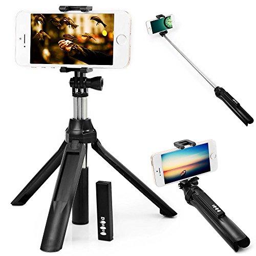 Selfie Stick Treppiede, Bastone Selfie Bluetooth Monopiede con Telecomando Bluetooth per Gopro Smartphone IOS e Android